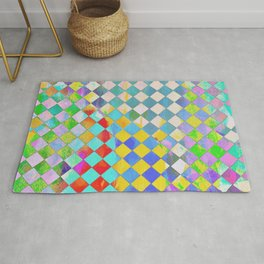 Color washed checkers Rug