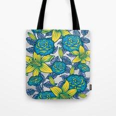 Flowers - Blue Tote Bag