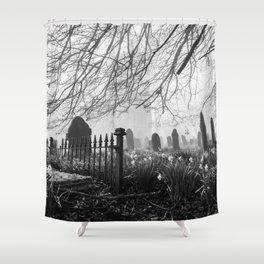 Rural church and graveyard in early morning fog. Hilborough, Norfolk, UK. Shower Curtain