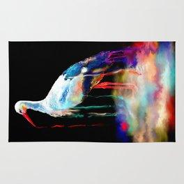 Rainbow Pond Stork Painting Rug