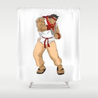 street fighter Shower Curtains featuring Street Fighter Andres Bonifacio by Cesar Cueva
