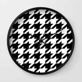 retro fashion classic modern pattern black and white houndstooth Wall Clock