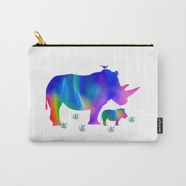 Rainbow Rhino mom and baby Carry-All Pouch