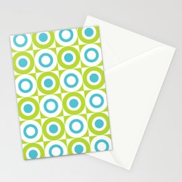 Mid Century Square and Circle Pattern 541 Turquoise and Chartreuse Stationery Cards