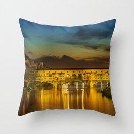 FLORENCE Ponte Vecchio at Sunset Throw Pillow