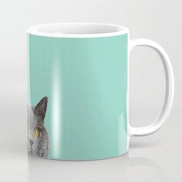 Duck Egg Blue British Short-hair Wall Decor Cat Clock Coffee Mug