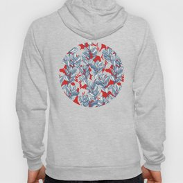 Leaf and Berry Sketch Pattern in Red and Blue Hoody