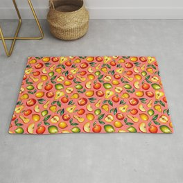 Watercolor fruit pattern on pink background Rug