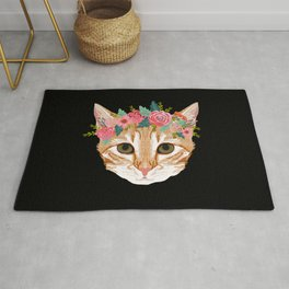 Orange Tabby cat breed with floral crown cute cat gifts cat lady must haves Rug