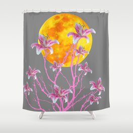 GREY PINK ASIATIC STAR LILIES MOON FANTASY Shower Curtain