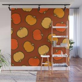 Pumpkin Pattern on Brown Wall Mural