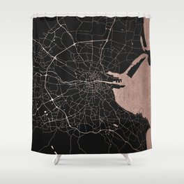 Black on Rosegold Dublin Street Map Shower Curtain
