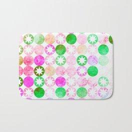 Grunge Pink & Green Dots with Star Bursts Bath Mat