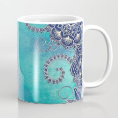 Mermaid's Garden - Navy & Teal Floral on Watercolor Mug