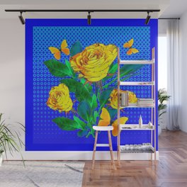 YELLOW BUTTERFLIES, ROSES, & BLUE OPTICAL ART Wall Mural