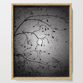 Dark Branch With Leaves Serving Tray