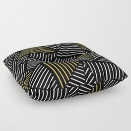 A Linear Black Gold Floor Pillow