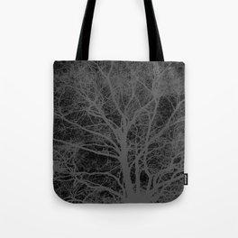 Black and white tree silhouette Tote Bag