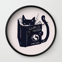 spirit Wall Clocks featuring World Domination For Cats by Tobe Fonseca