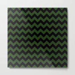 Large Dark Forest Green and Black Chevron Stripe Pattern Metal Print