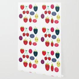 Kawaii Cherry Strawberry Raspberry Blackberry Blueberry Cranberry Cowberry Goji Grape Wallpaper