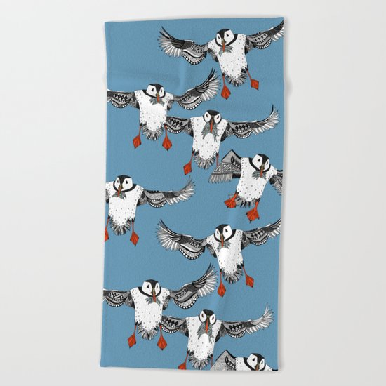 Atlantic Puffins blue Beach Towel