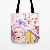 agnes cecile Tote Bags featuring Marie & Cecile by artofnadia