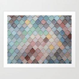 Pastel Rainbow Mermaid Pattern Art Print