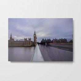 Westminster Bridge Commuters Metal Print