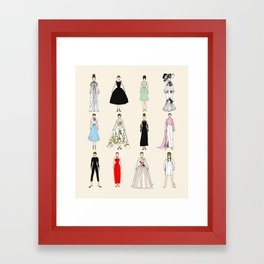 Audrey Fashion Vintage Retro in Cream Framed Art Print