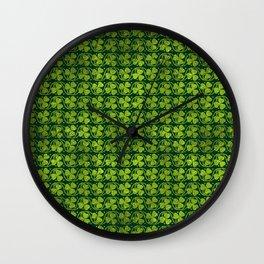 Irish Shamrock -Clover Green Glitter pattern Wall Clock