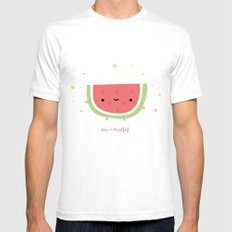 Kawaii watermelon SMALL Mens Fitted Tee White