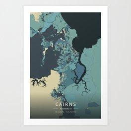 Cairns, Australia - Cream Blue Art Print