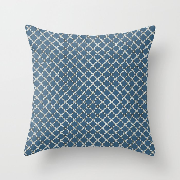 Beige Scroll Grid Pattern on Calming Blue Pairs To 2020 Color of the Year Chinese Porcelain Throw Pillow