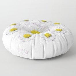 ALL WHITE SHASTA DAISY FLOWERS ART Floor Pillow