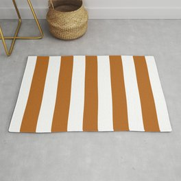 Dirty brown - solid color - white vertical lines pattern Rug