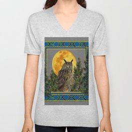 WILDERNESS OWL WITH FULL MOON PINE TREES Unisex V-Neck