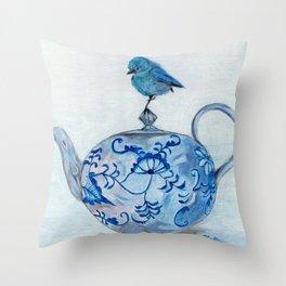 Blue Bird on Teapot Throw Pillow
