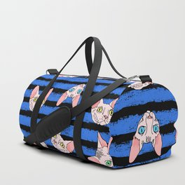 sphynx cats on blue and black Duffle Bag