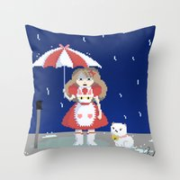 puppycat Throw Pillows featuring Bee and Puppycat in the Rain by Paul Scott (Dracula is Still a Threat)