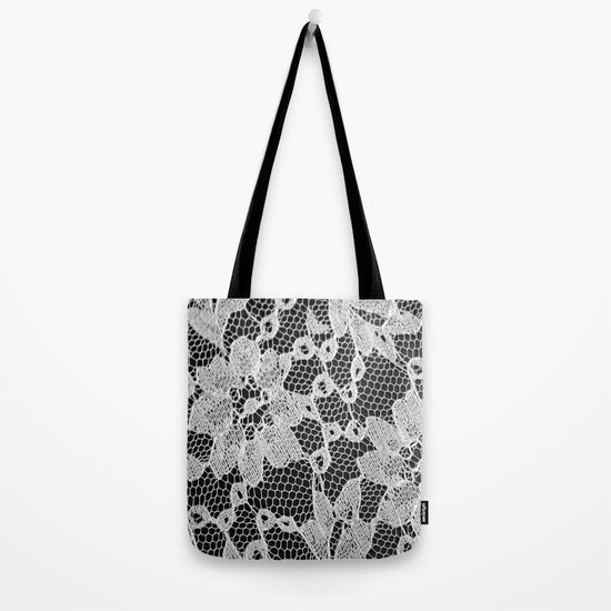 black and white laced Tote Bag