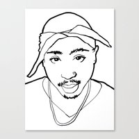 tupac Canvas Prints featuring Tupac no. 1 by Colin Douglas Gray