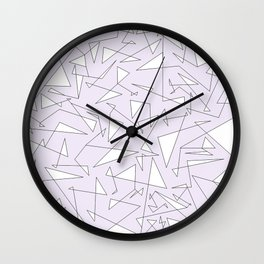 lighest lilac black and white big doodle Wall Clock
