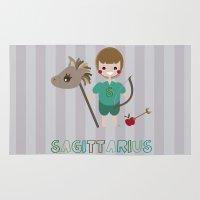sagittarius Area & Throw Rugs featuring Sagittarius by Esther Ilustra