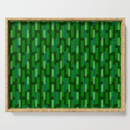 pixel brick geometric pattern_green Serving Tray