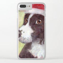 Santa Dog Clear iPhone Case