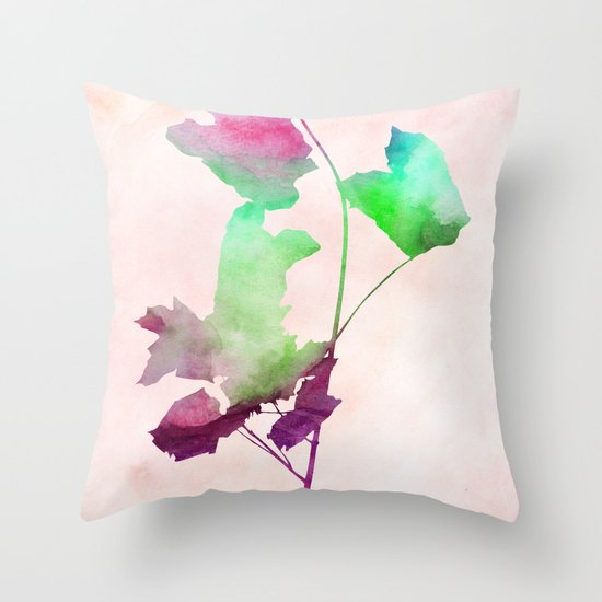 Maple_Watercolor2 by Jacqueline and Garima Throw Pillow