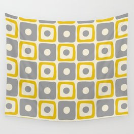 Mid Century Modern Square Dot Pattern 771 Yellow and Gray Wall Tapestry