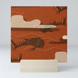 Whale Shark Orange #nautical #whaleshark Mini Art Print