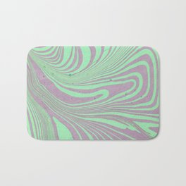 Violet mint green abstract watercolor marble Bath Mat